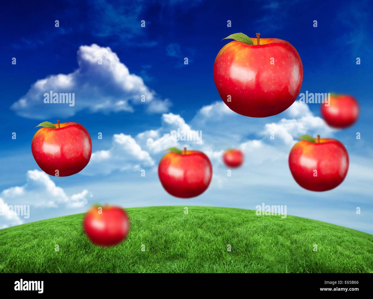 Zusammengesetztes Bild digital erzeugte glänzend rote Äpfel Stockbild