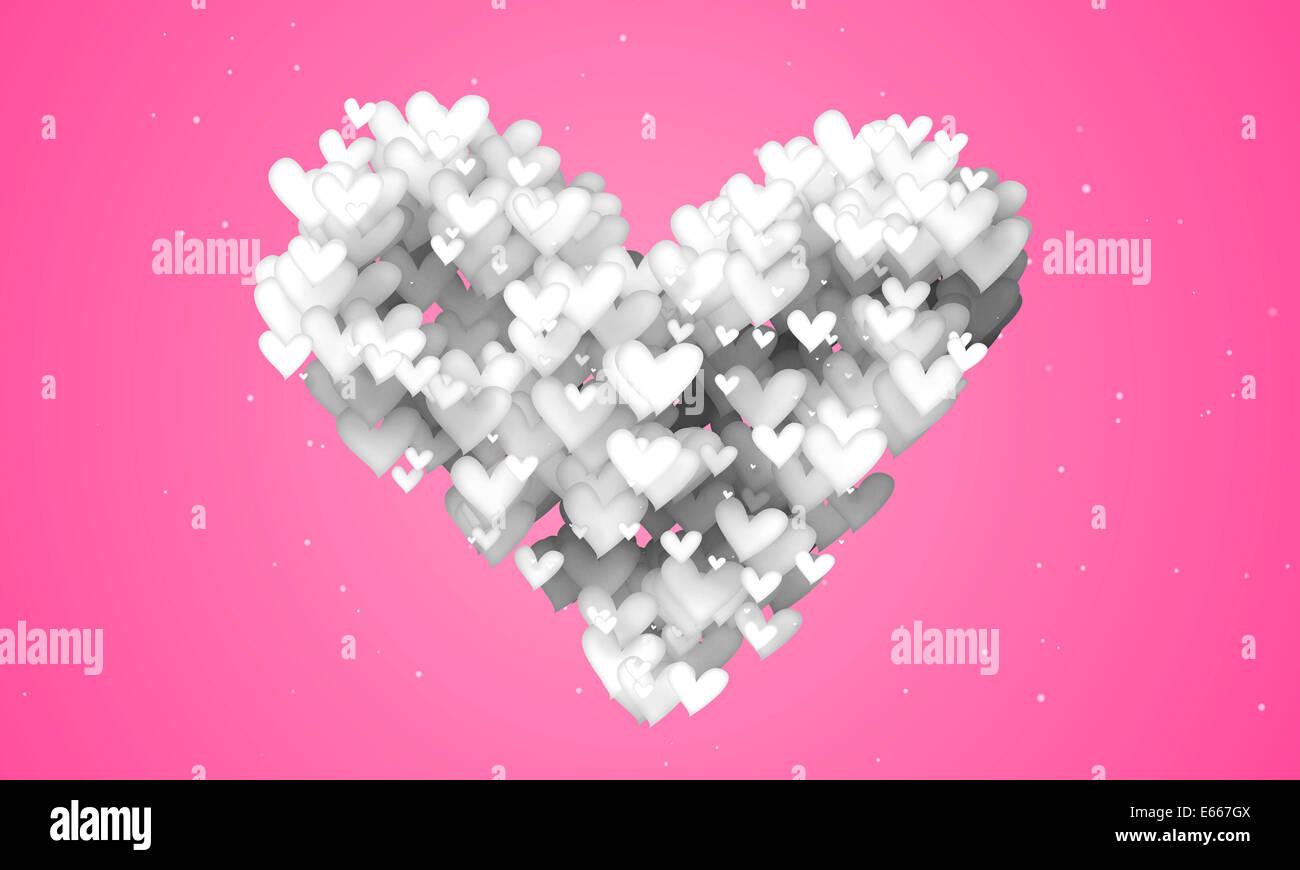 Liebe Form Partikel rosa Hintergrund 3D Papier Stockbild