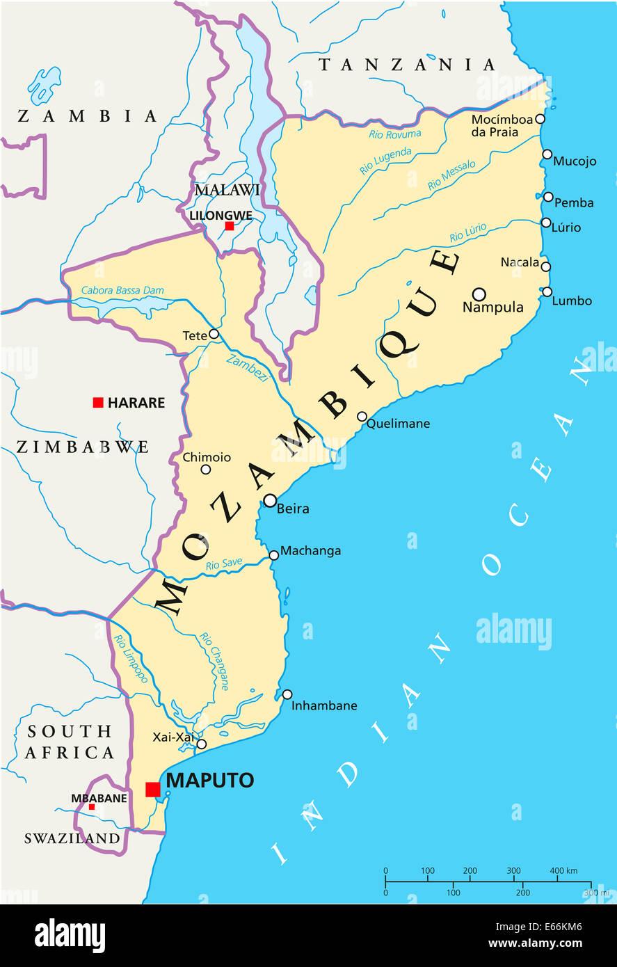 Mosambik Karte.Mosambik Politische Karte Mit Hauptstadt Maputo Mit Landesgrenzen