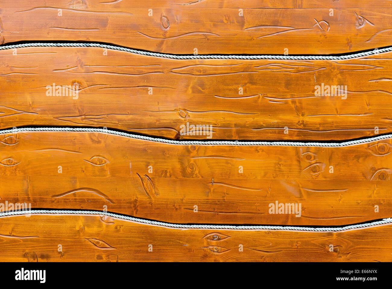 hölzerne Hintergrund, horizontal positionierte Boards und Seil Stockbild