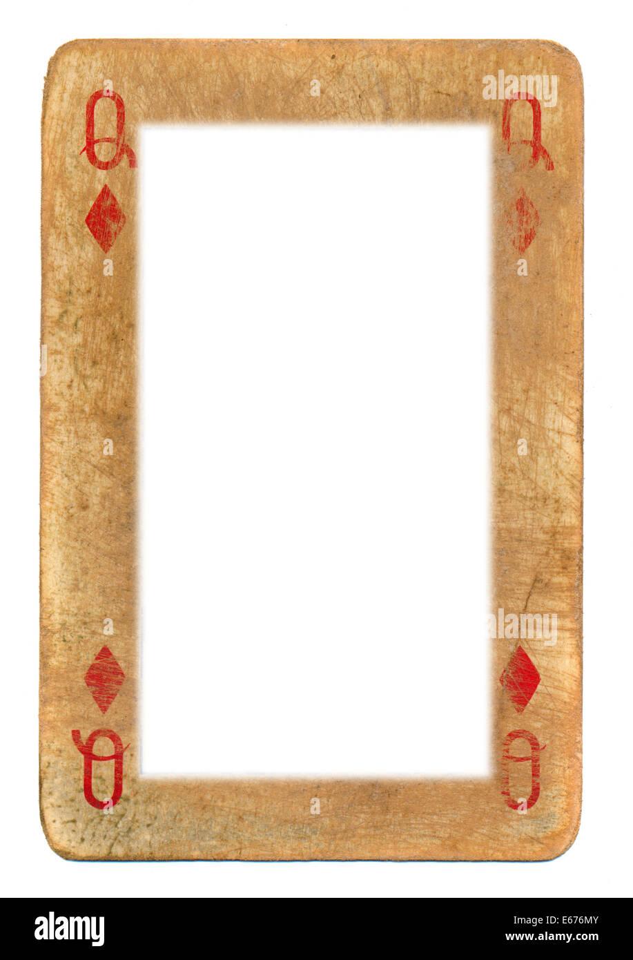 Papier-Rahmen aus alten Spielkarte Königin der Diamanten isoliert ...