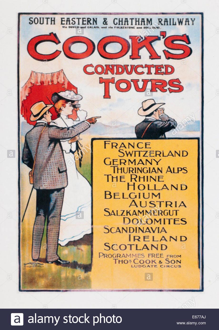 Oldtimer Reise Plakatwerbung South Eastern and Chatham Railway für Cooks durchgeführten Touren. Editorial nur Stockfoto