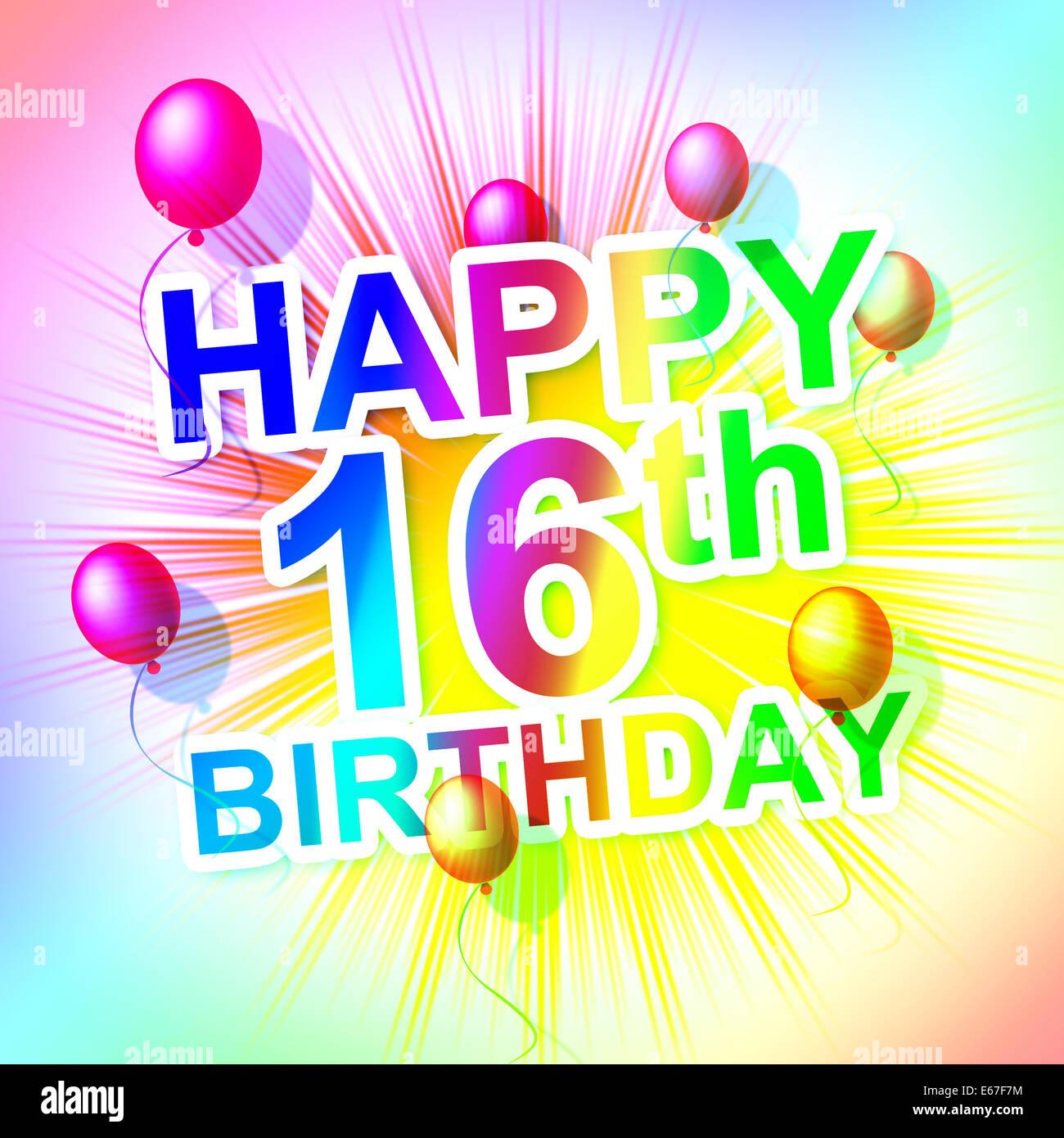 Alles Gute Zum Geburtstag Zeigen Sechs Teenager Und Sechzehnten
