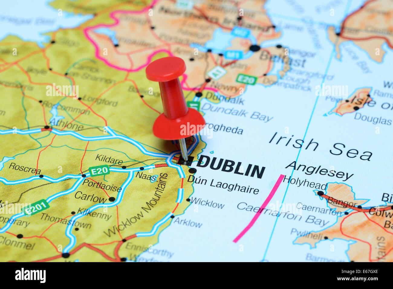 dublin karte Dublin, fixiert auf einer Karte von Europa Stockfoto, Bild