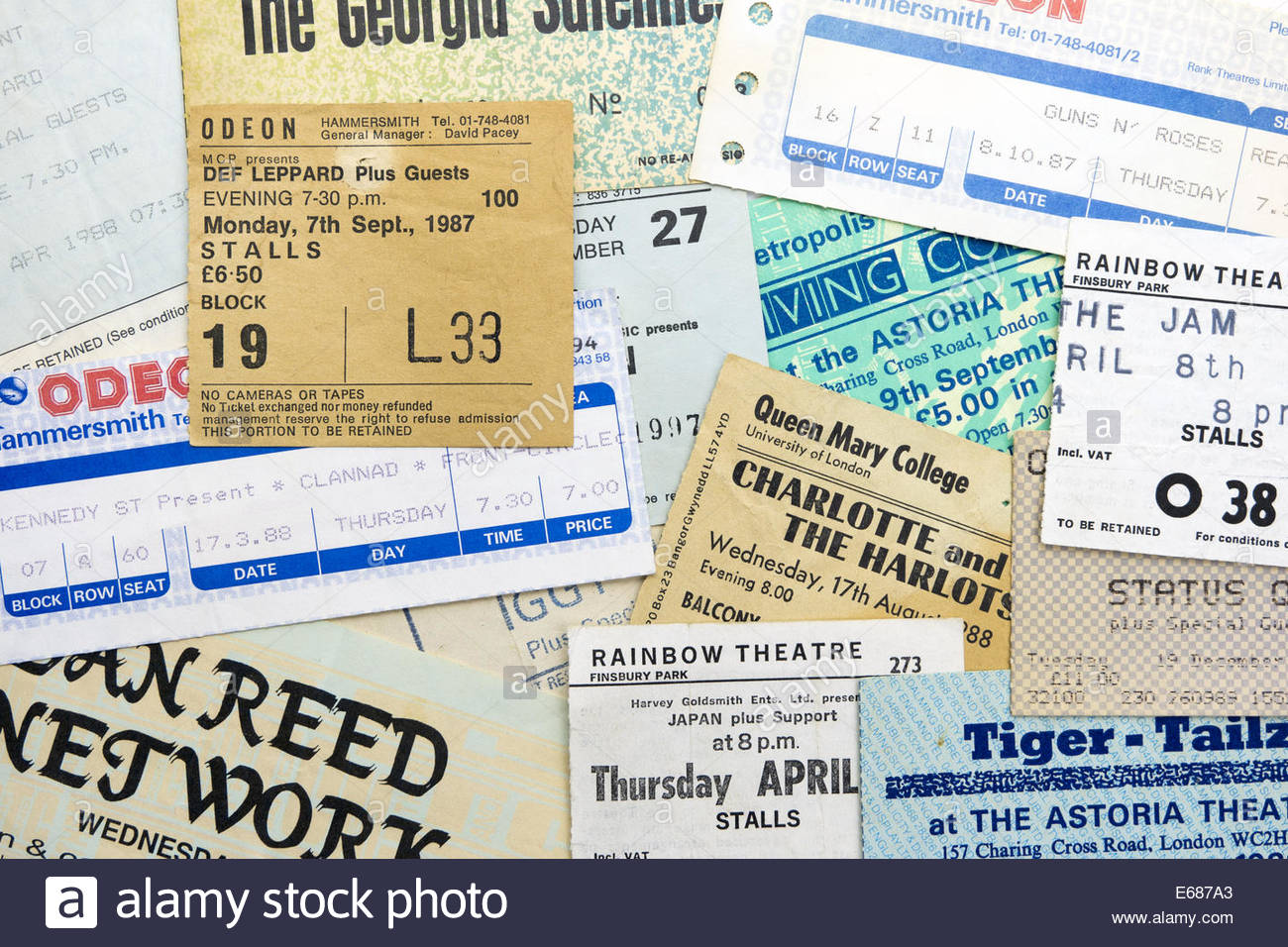 Concert Ticket Stubs Stockfotos & Concert Ticket Stubs Bilder - Alamy