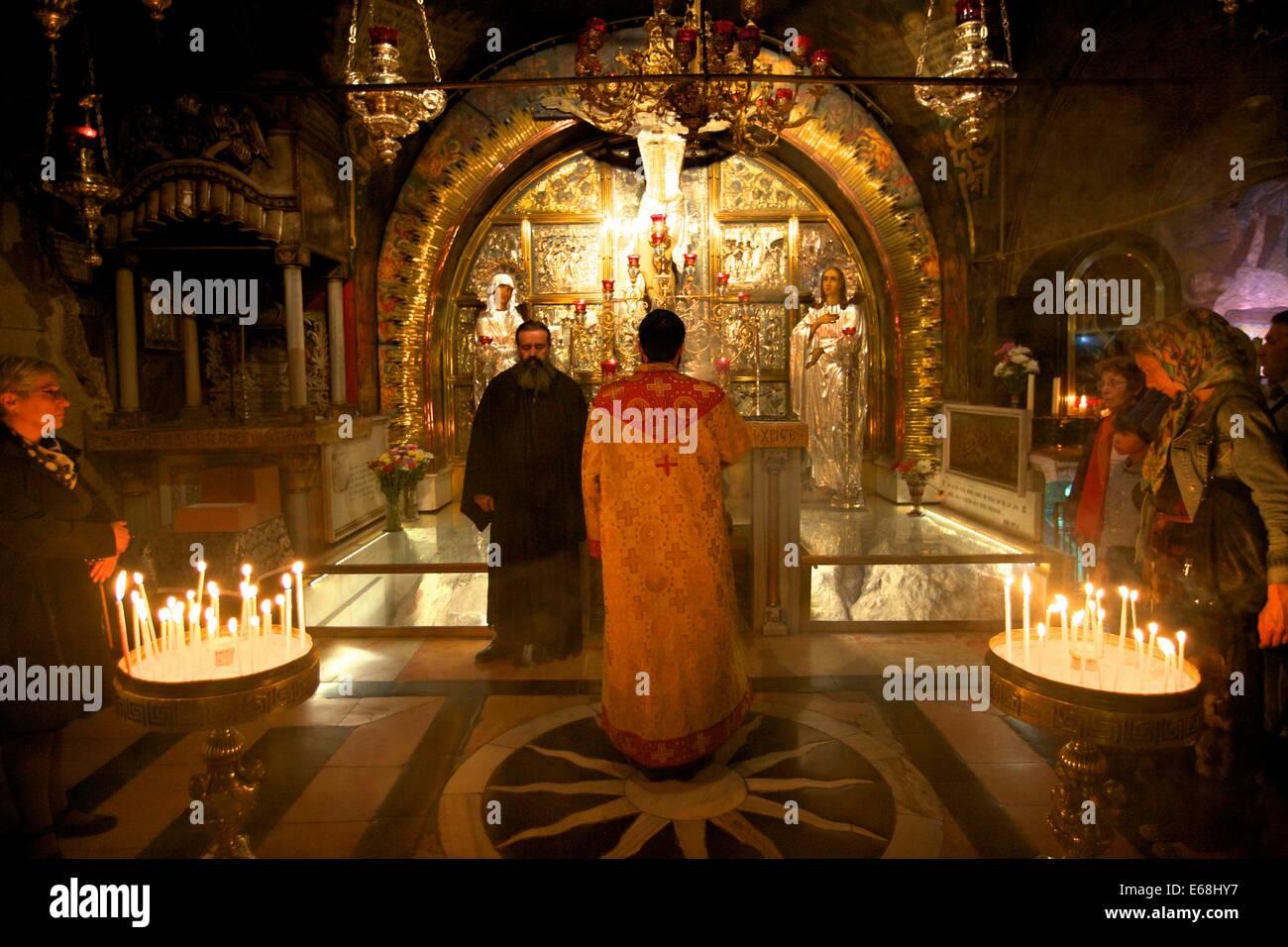 Golgatha, Kirche des Heiligen Grabes in Jerusalem, Israel, Nahost Stockbild