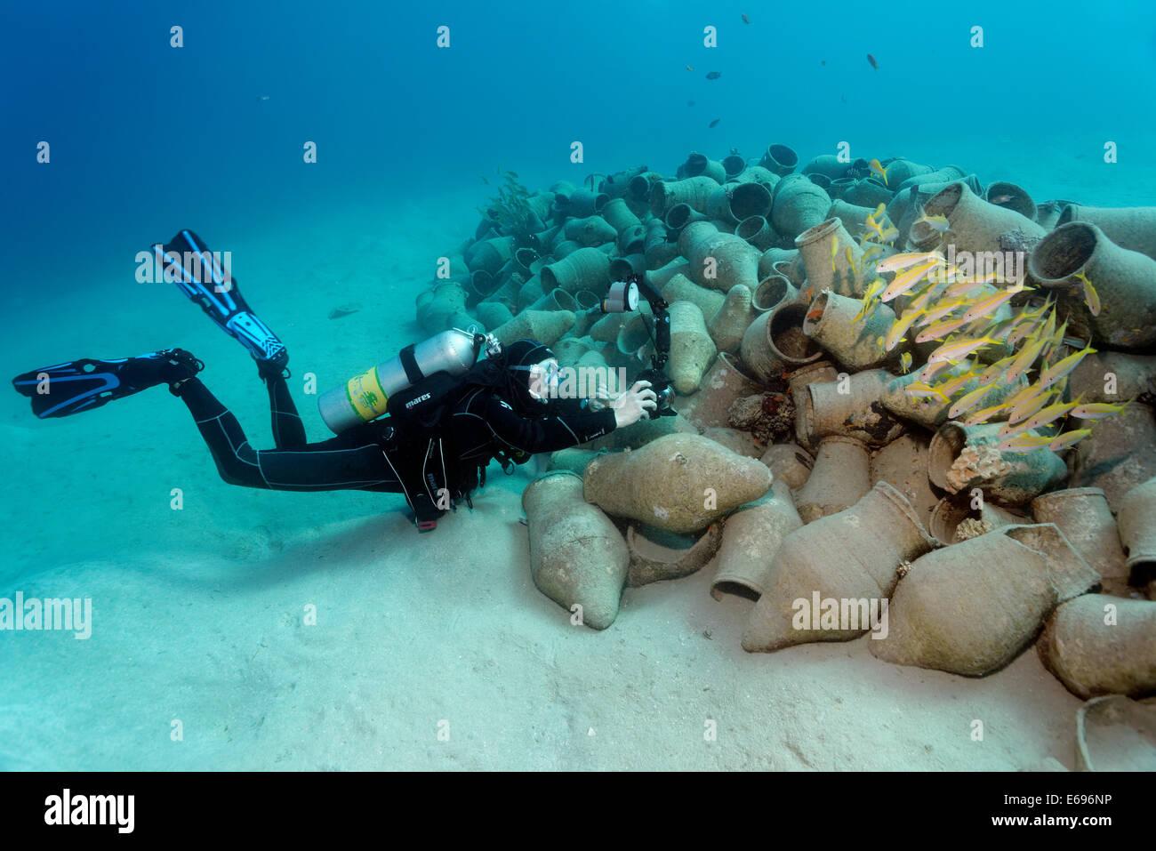 unterwasser-fotografen fotografieren fischschwarm auf