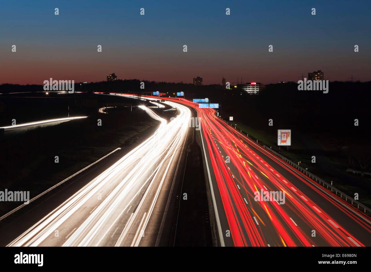 Rush Hour auf der Autobahn A8, Baden-Württemberg, Deutschland Stockbild