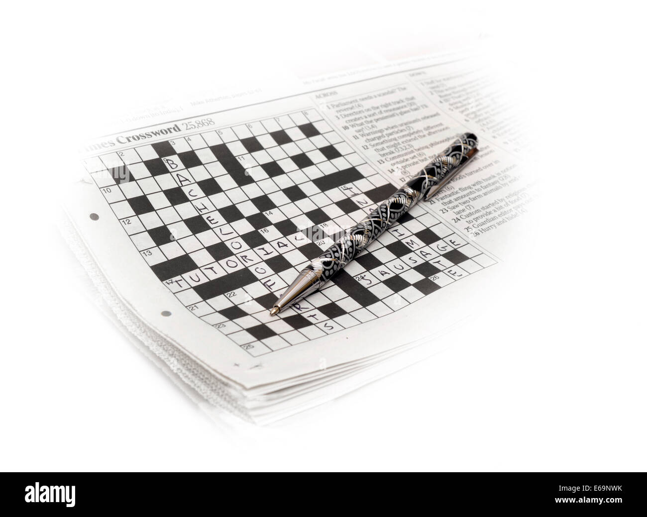 Zeitung-Kreuzworträtsel Stockfoto
