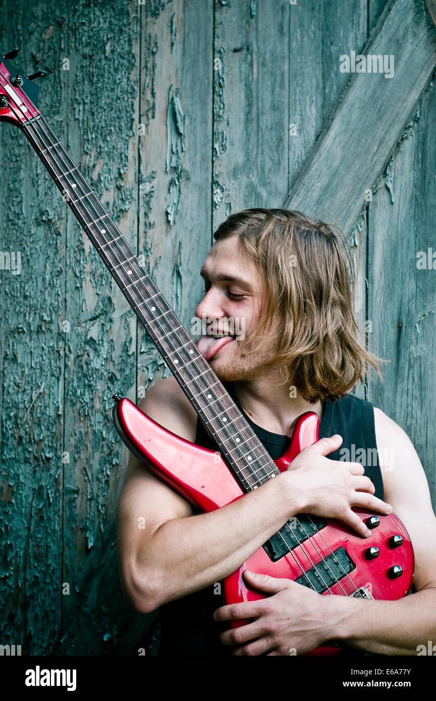 e-Gitarre, Musiker, Gitarrist, leidenschaftlich Stockbild