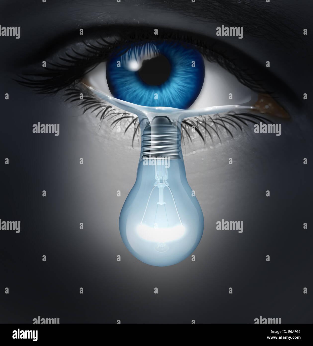 Depression Therapiekonzept als depressiv menschlichen Auge eine Träne Weinen geformt wie eine Glühbirne Stockbild