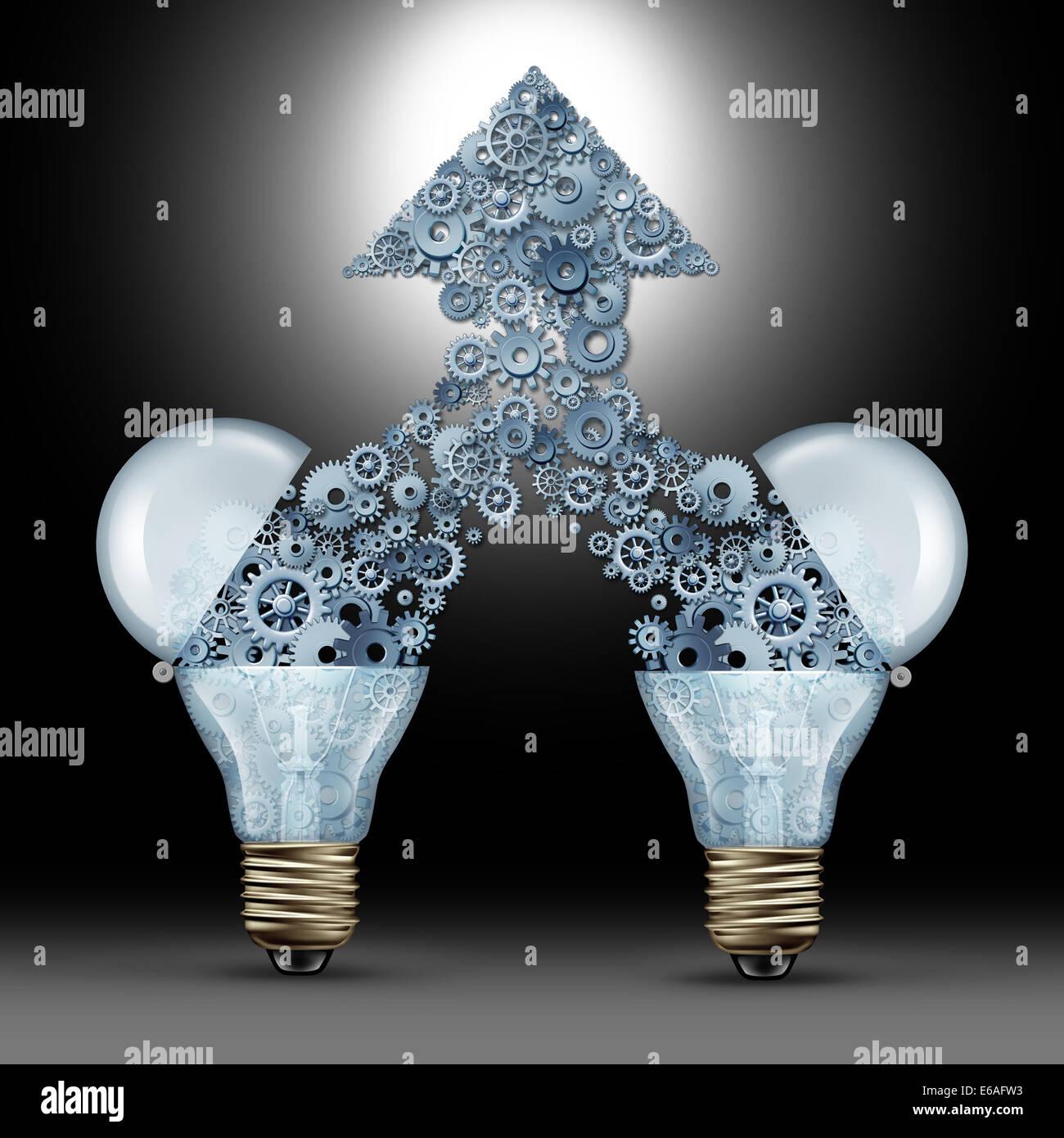 Kreative Innovationserfolg als zwei offenen Glas Glühbirnen Freigabe Getriebe und Zahnräder kommen zusammen Stockbild