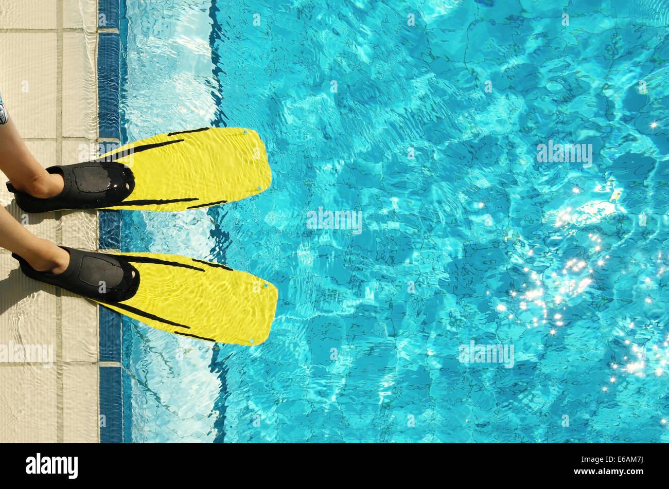 Schwimmbad, Beckenrand, flossen Stockbild