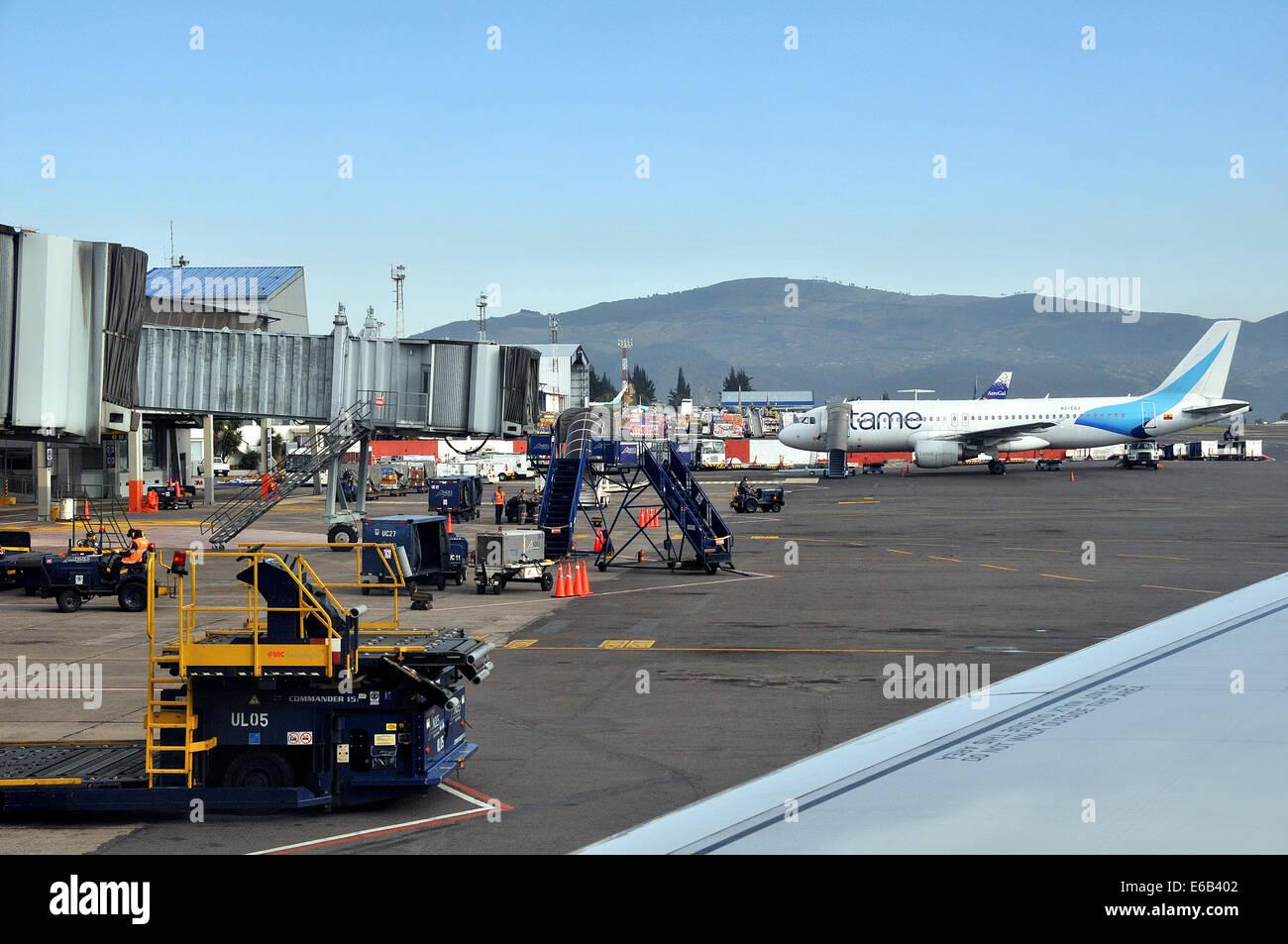 Airbus A 320-214 der Fluglinien zähmen Mareshal Sucre International Airport (alt) Quito Ecuador Stockbild