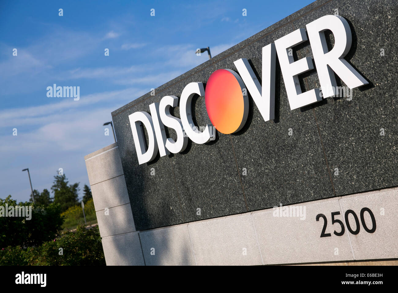Der Hauptsitz von Discover Financial Services in Riverwoods, Illinois. Stockbild