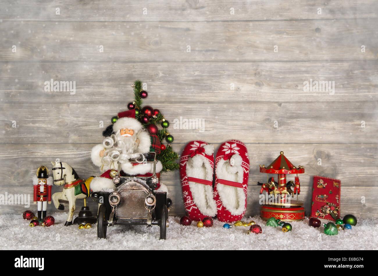 Vintage Bilder Weihnachten.Hölzerne Witzig Vintage Weihnachten Hintergrund Mit Santa Und Altes