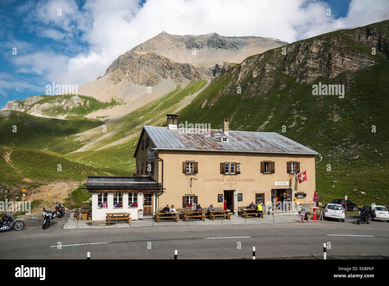 Gästehaus der Albula Hospiz, Albulapass, 2315 m, Graubünden, Schweiz Stockbild