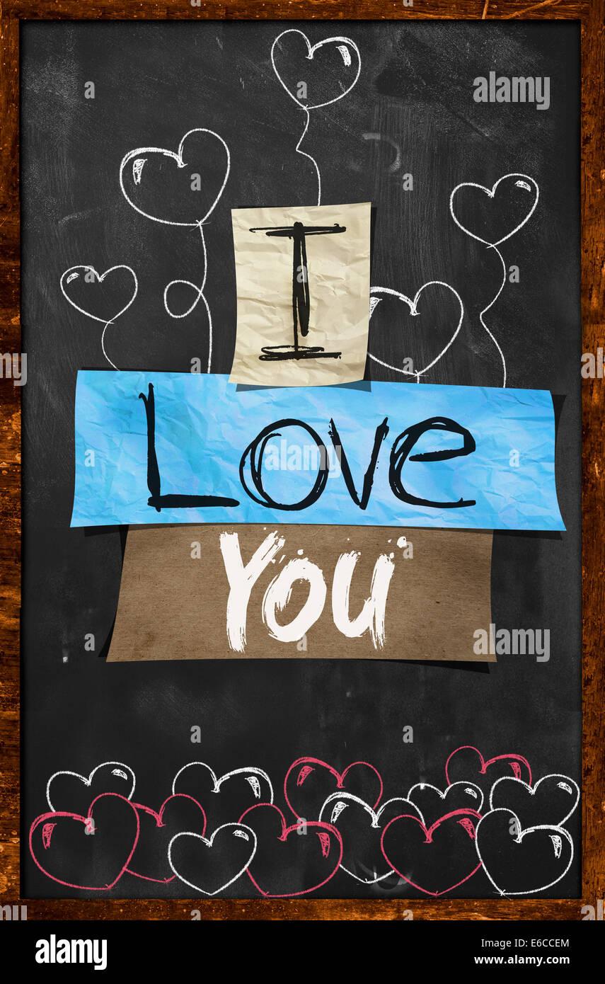 Tafel Tapete ich liebe dich text auf tafel tapete paper stockfoto bild