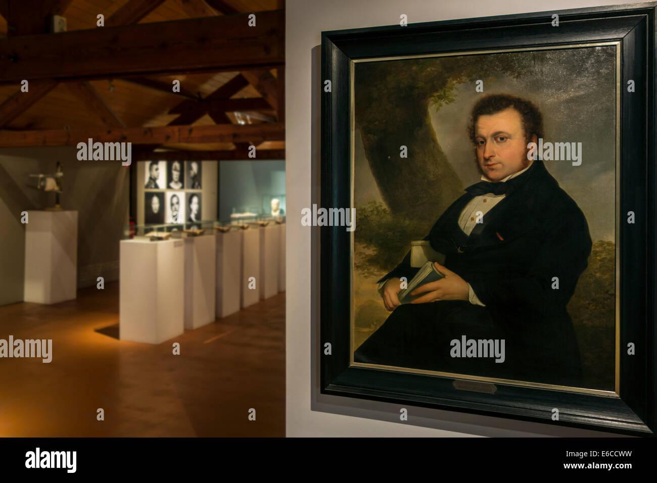 Malerei der Arzt Joseph Guislain, belgischen Arzt und Pionier in der Psychiatrie im Museum Dr. Guislain, Gent, Belgien Stockbild