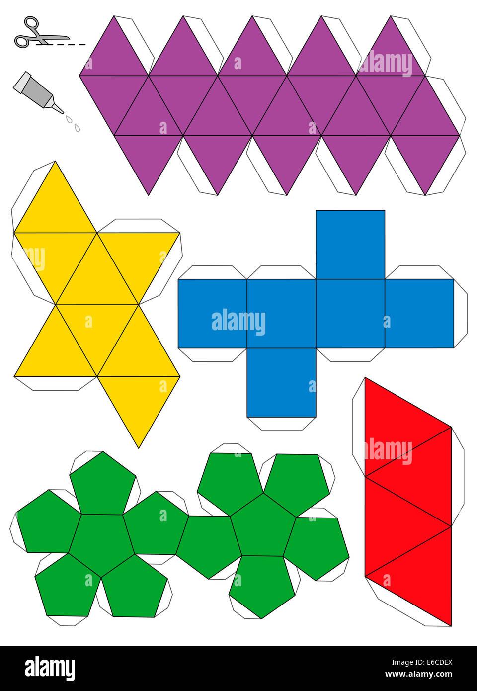 Papierschablone Modell der fünf platonischen Körper, zu einem dreidimensionalen Handwerk aus den Netzen Stockbild