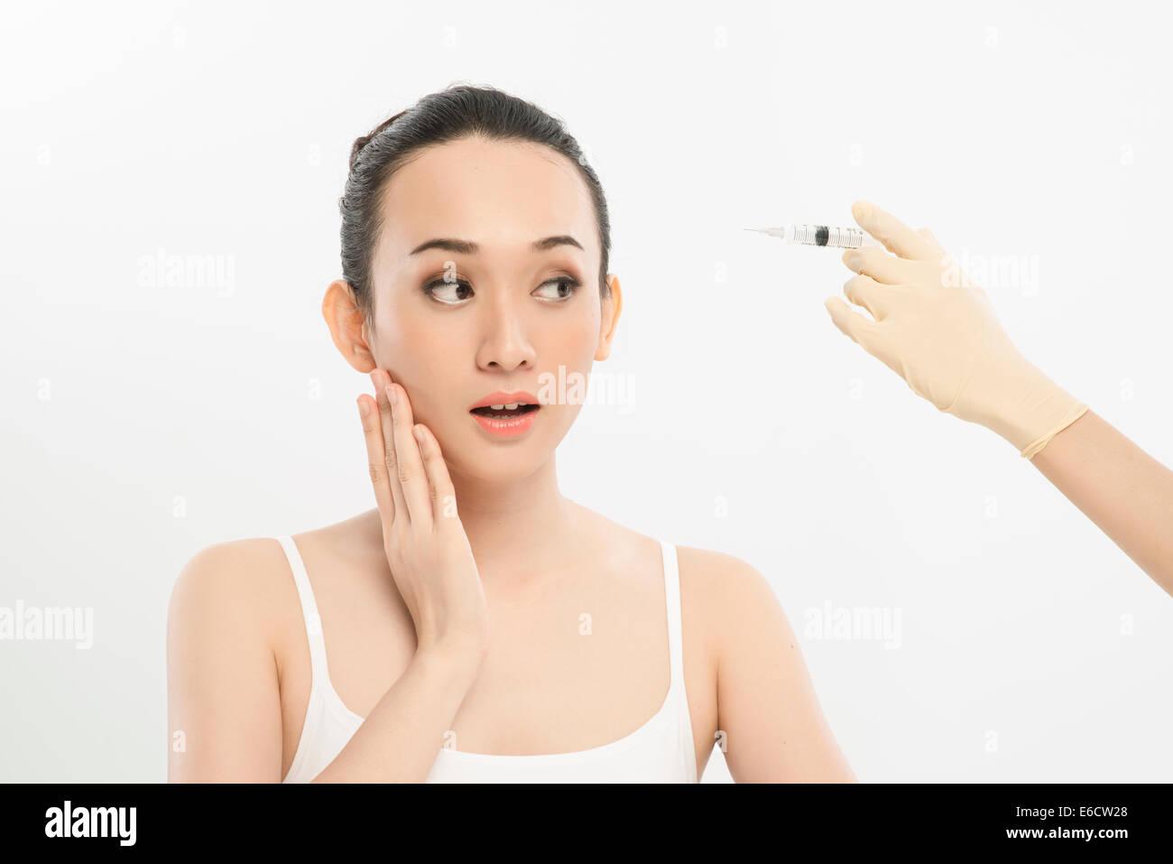 Asiatisch Chinesisch hübsches Mädchen Makeover posiert Stockbild