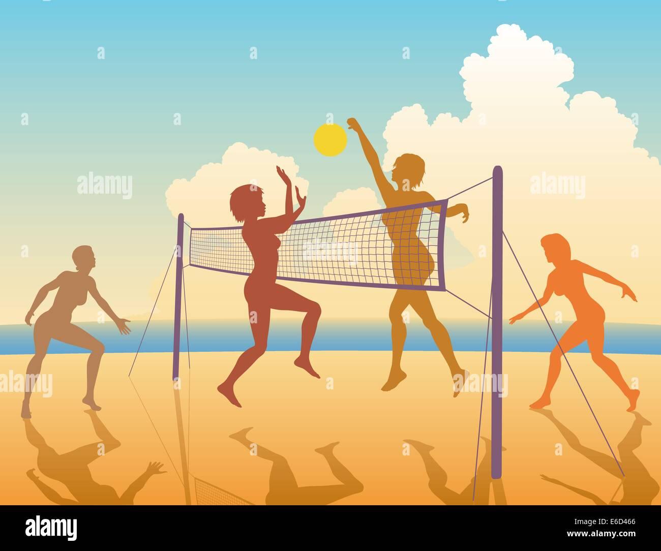 Bearbeitbares Vektor bunte Silhouetten von Frauen spielen Beach-volleyball Stock Vektor