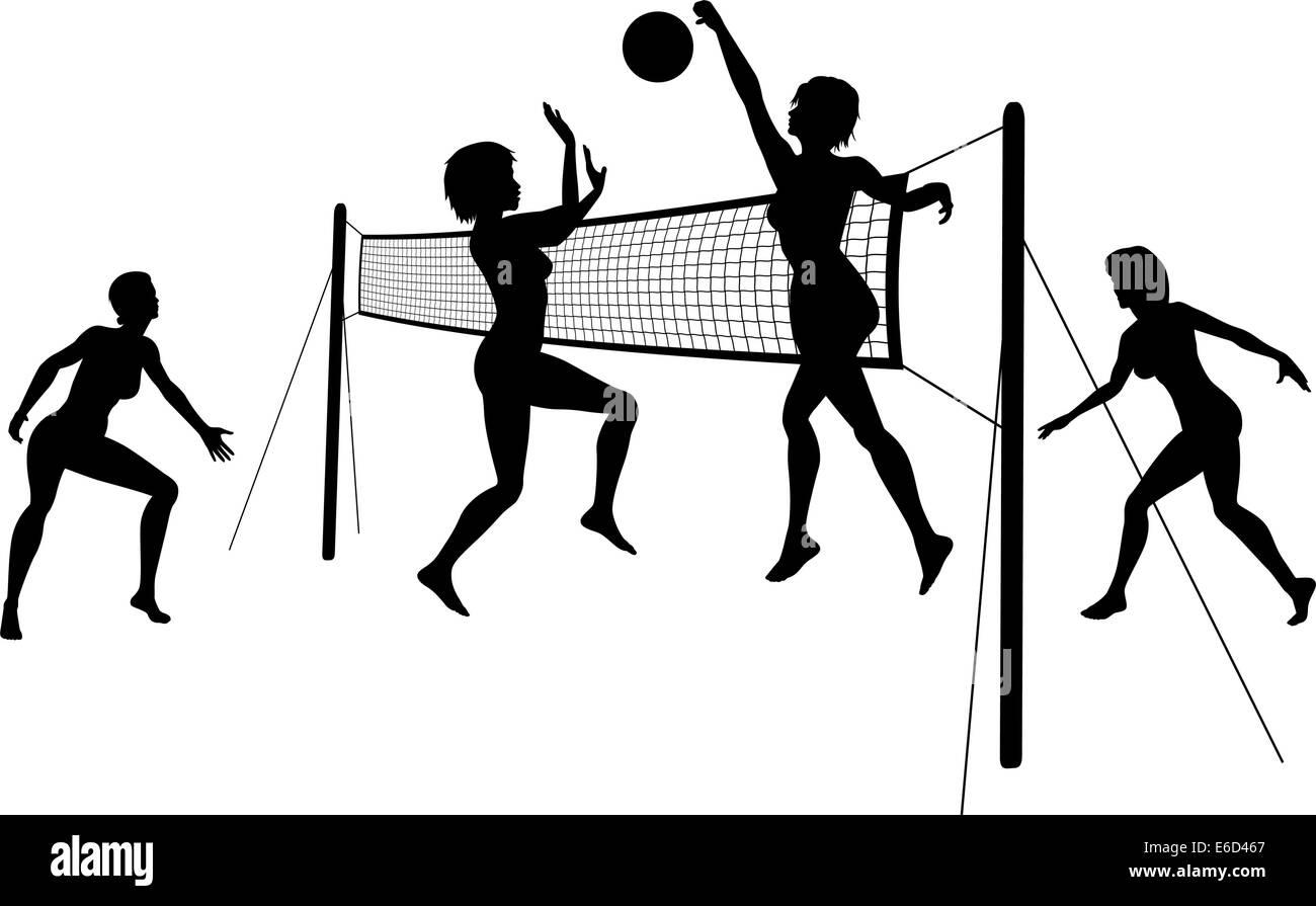 Editierbare Vector Silhouetten von Frauen spielen Beach-Volleyball mit Frauen und Net als separate Objekte Stock Vektor