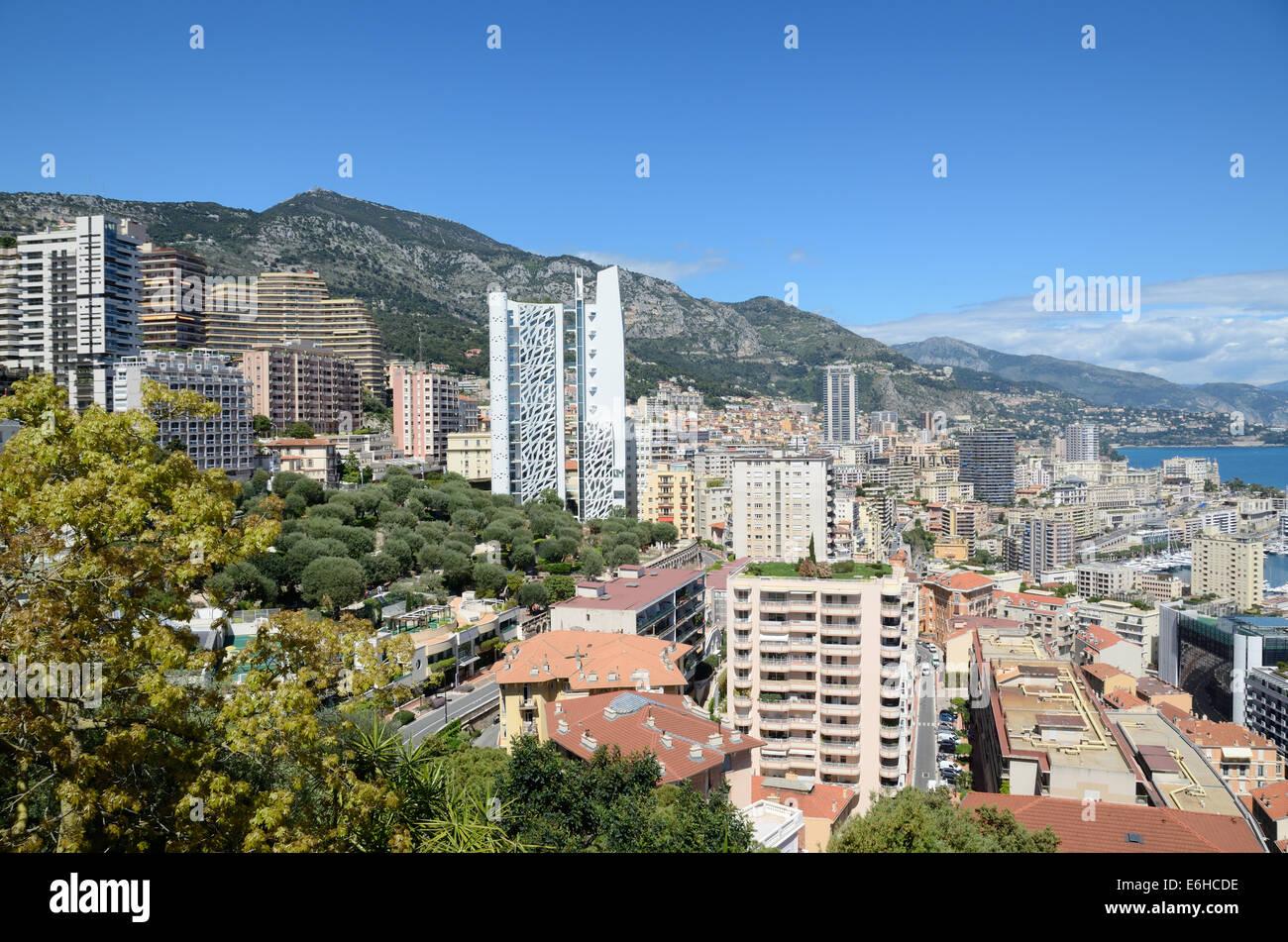 Panoramablick über Monaco Stockbild