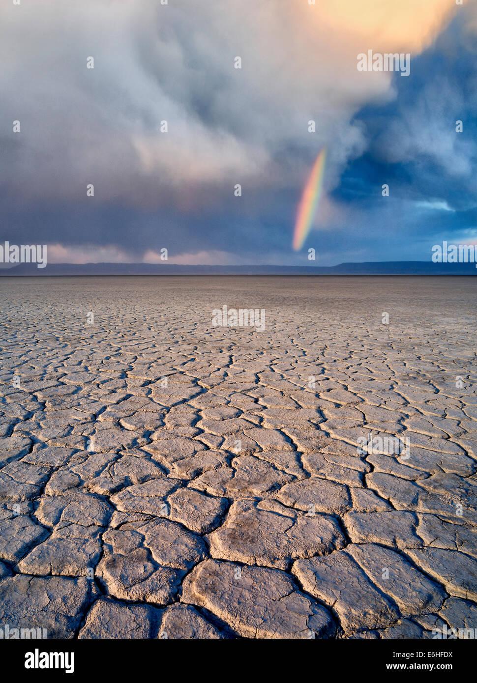 Alvord Wüste mit Regenbogen. Harney Grafschaft, Oregon. Stockbild
