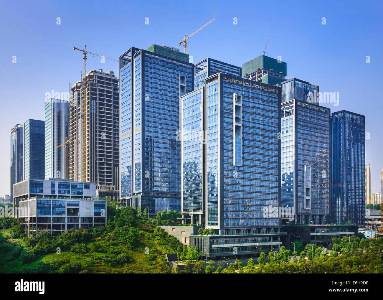 Moderne Bürogebäude, Neubau in Chongqing, China. Stockbild