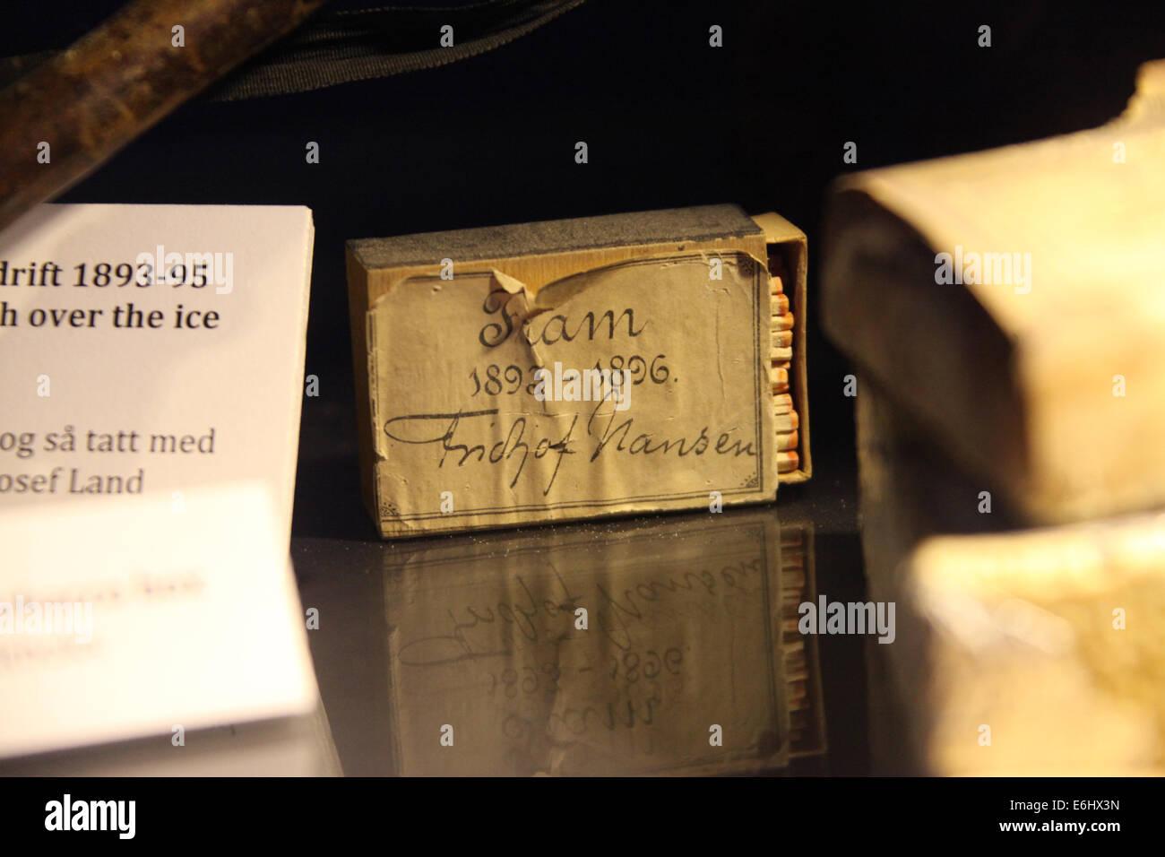 Streichholzschachtel Zugehörigkeit zu Fridtjoj Nansen im Fram Museum of Polar Exploration in Oslo Stockbild