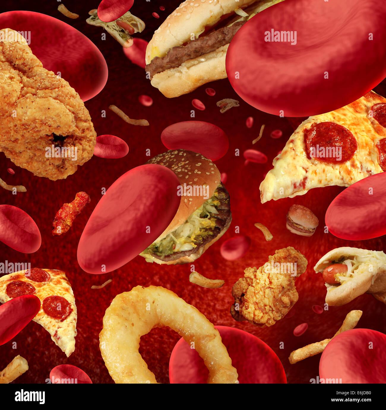 Hohe Cholesterinwerte medizinisches Konzept mit einem menschlichen Blutgefäß oder blockierte Arterie, Stockbild