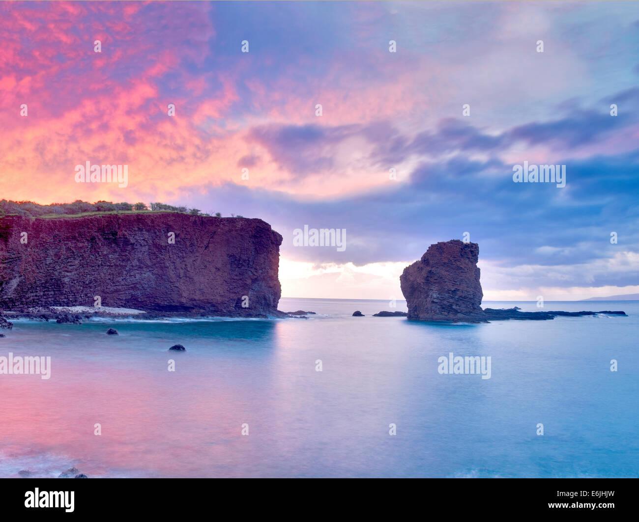 Schatz-Rock bei Sonnenuntergang. Lanai, Hawaii Stockbild