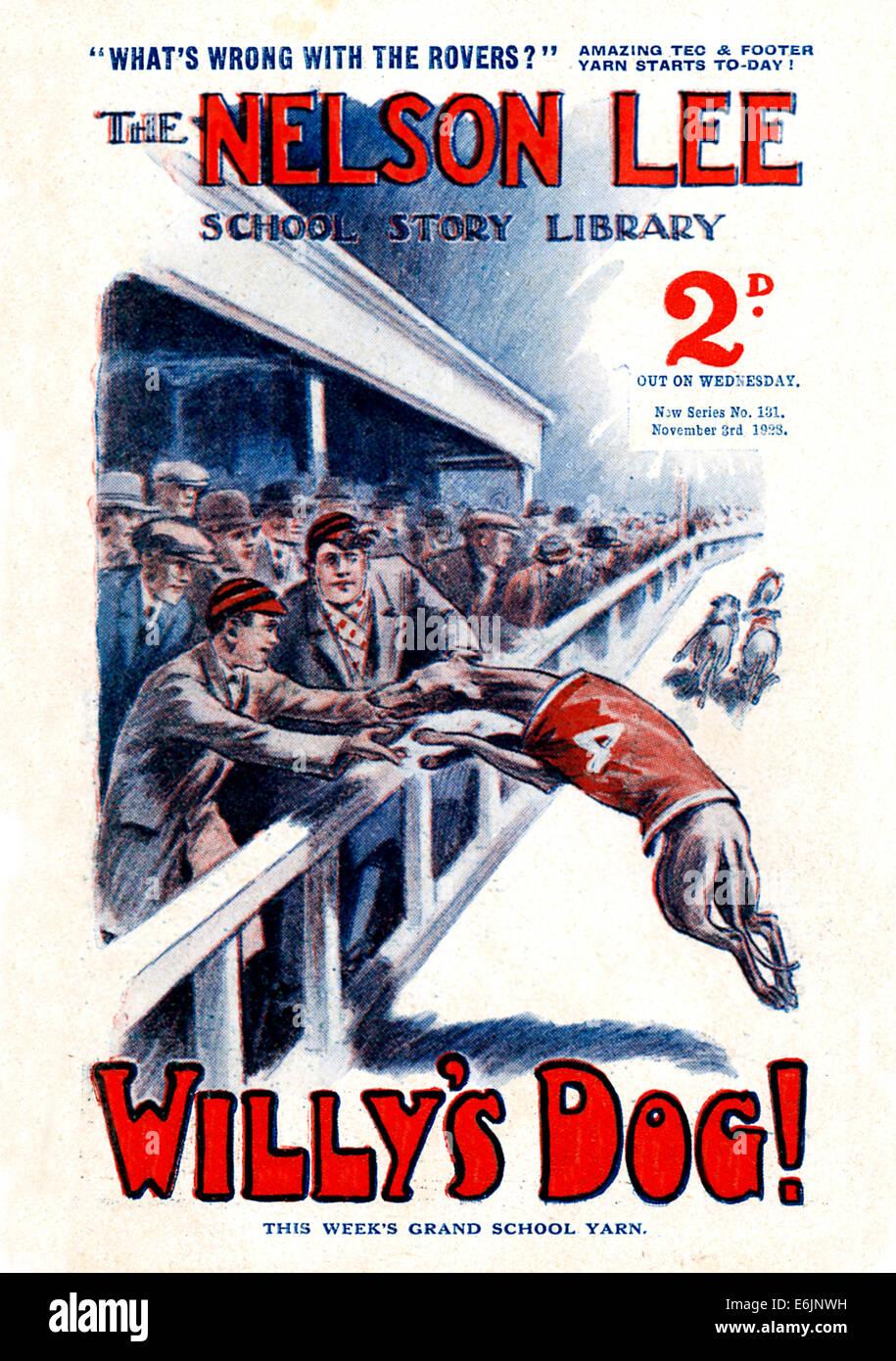 Willys Hund, 1920er Jahre Comic-Buch-Cover mit einer Windhund-Rennsport-Geschichte Stockbild