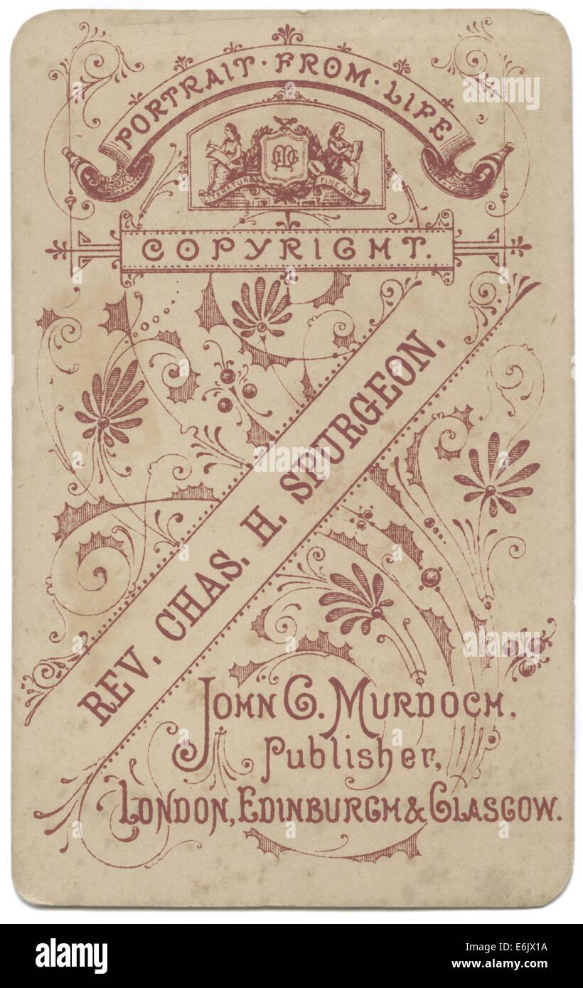 Ruckseite Des C1882 Carte De Visite CDV Portrat Karte Beruhmten London Minister Charles Haddon Spurgeon Durch John G Murdoch