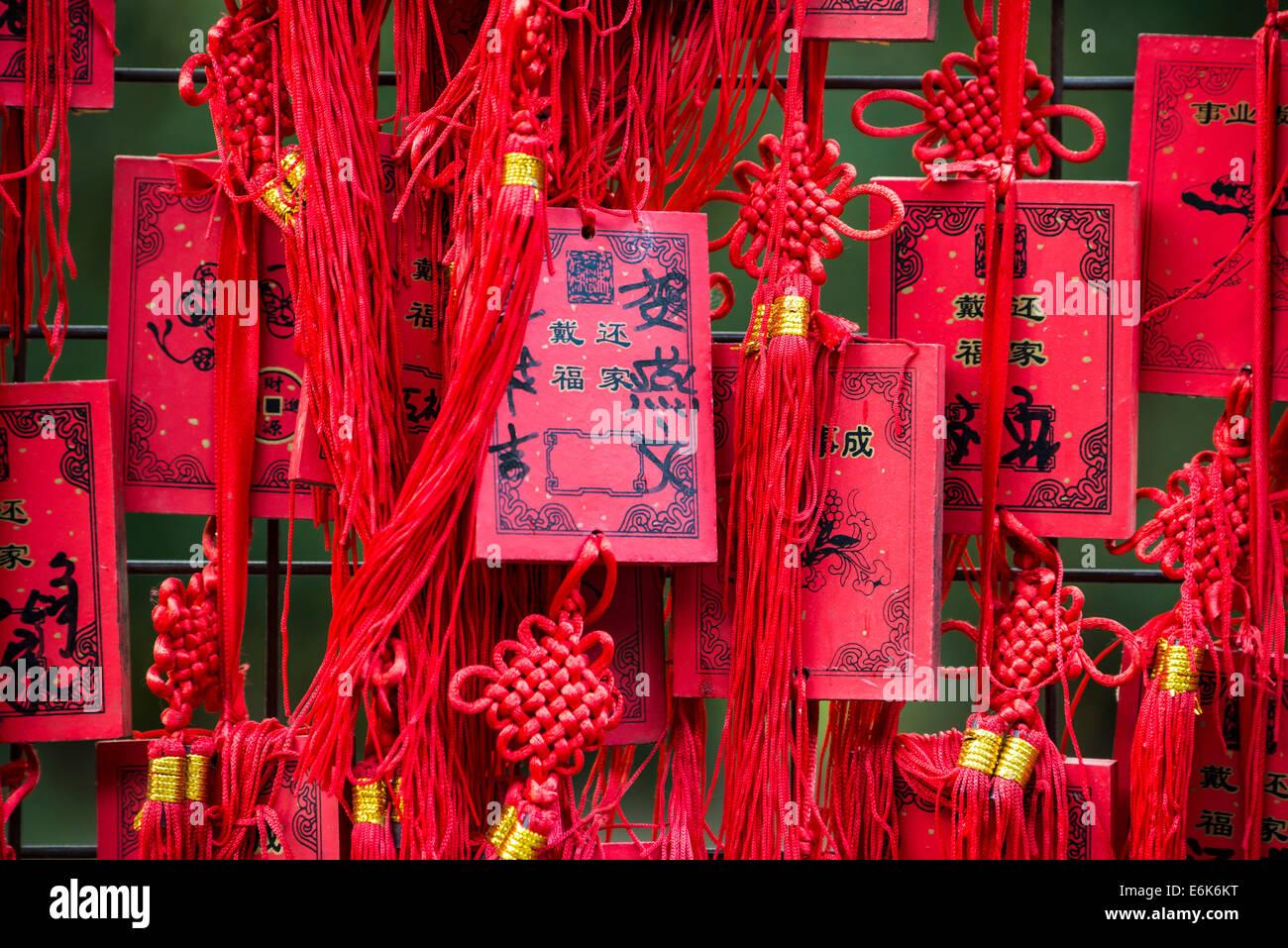 Chinesische rote wollen Karten, Peking, China Stockbild