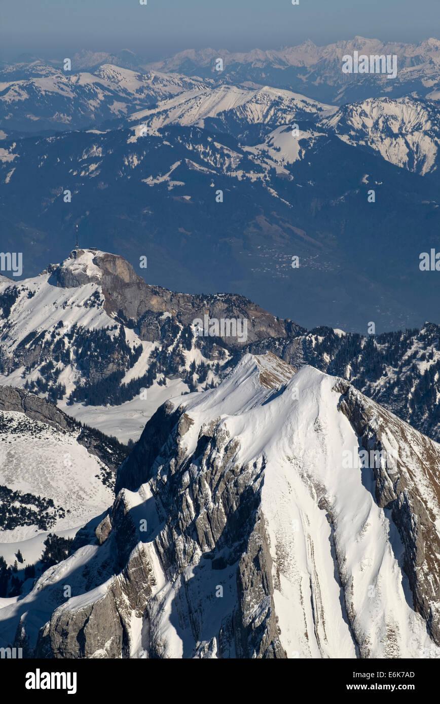 Mt Hoher Kasten, 1794 m, Appenzeller Alpen, Kanton Appenzell Ausserrhoden, Schweiz Stockbild