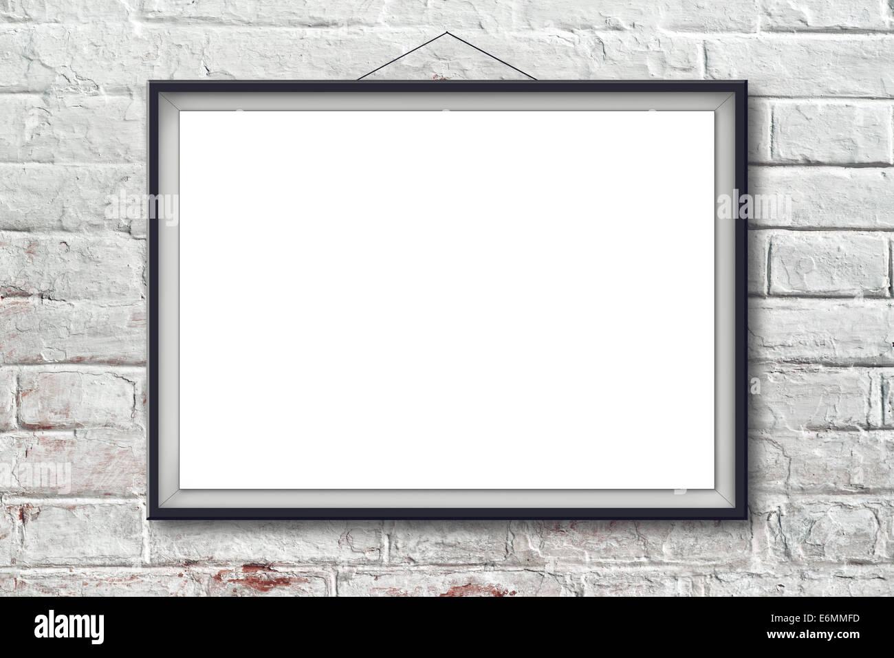 Leere horizontale Malerei Poster in schwarzen Rahmen hängen weiße ...