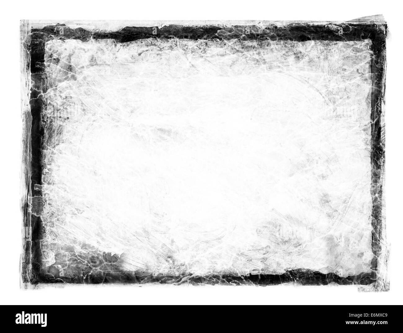 Schwarz Grunge schmutzig Rahmen auf weiß. Stockbild