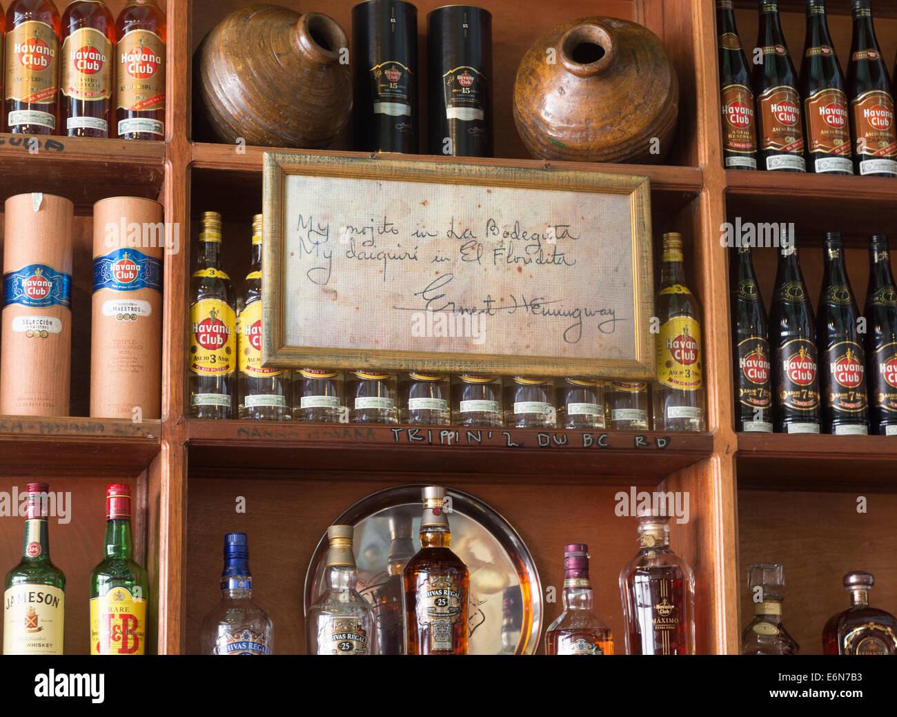 "Signieren von Hemingway, ""my Mojito in La Bodeguita"", La Bodeguita del Medio Bar, Havanna, Kuba Stockbild"