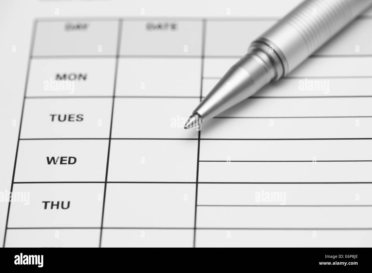 Weekly Time Sheet Stockfotos & Weekly Time Sheet Bilder - Alamy