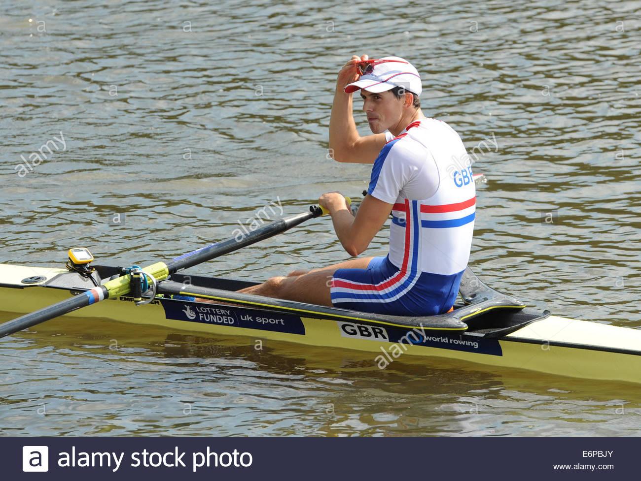 Amsterdam NL 27. August 2014 World Rowing Championships.  Leichte Herren Schädel.  Zak Lee - grün (GBR) Stockbild