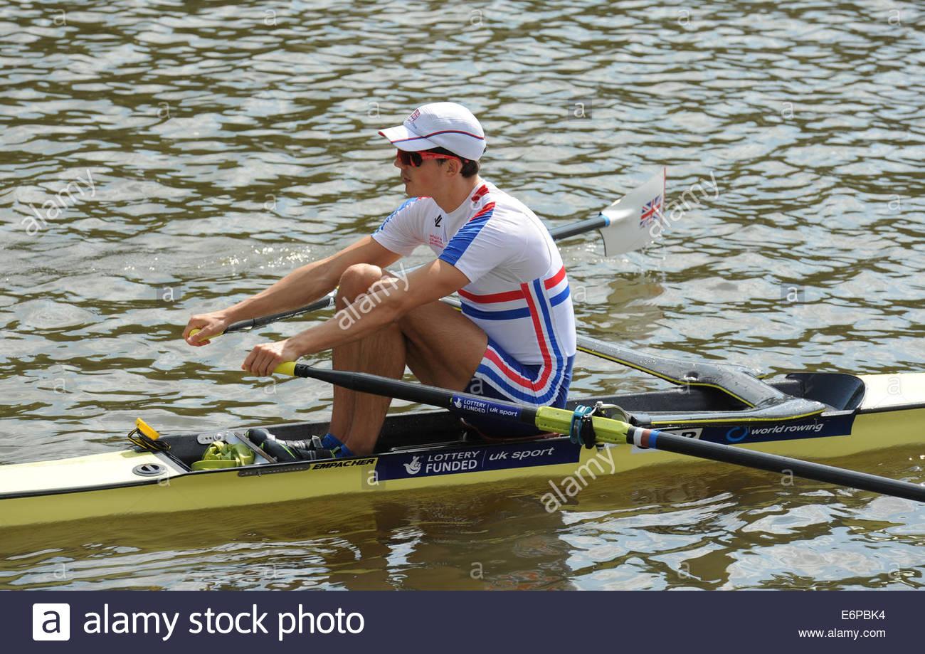Amsterdam NL 27. August 2014 World Rowing Championships.  Leichte Herren Schädel.  Zak Lee-grün (GBR) Stockbild