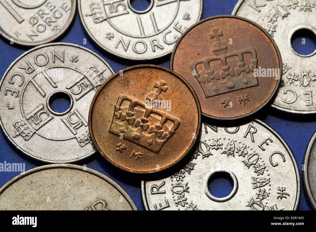 Münzen Von Norwegen Norwegische Krone In Norwegischen Erz Münzen