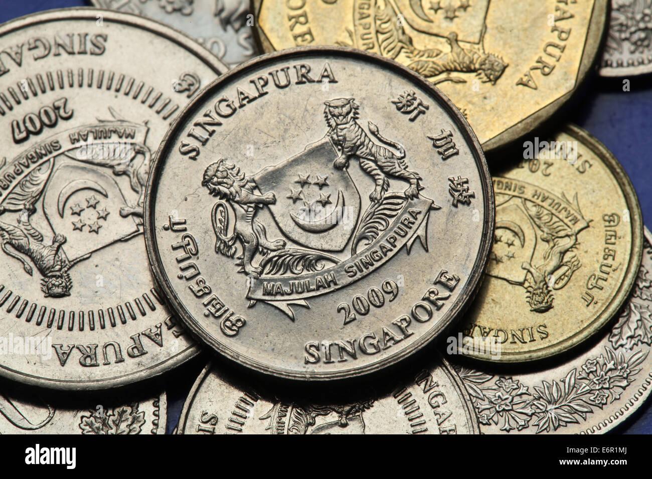 Münzen Von Singapur Staatswappen Von Singapur In Singapur Cent