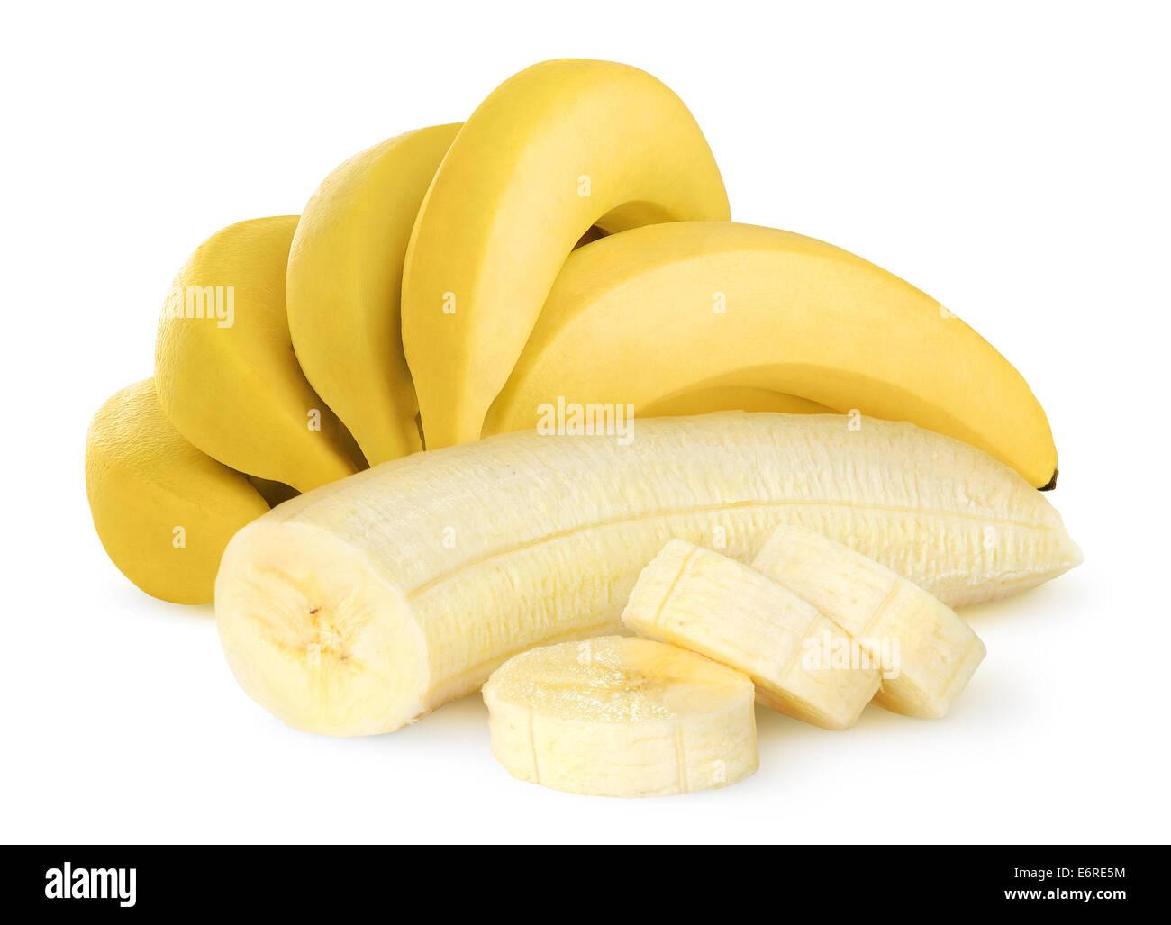 Frische Bananen auf weißem Hintergrund Stockbild