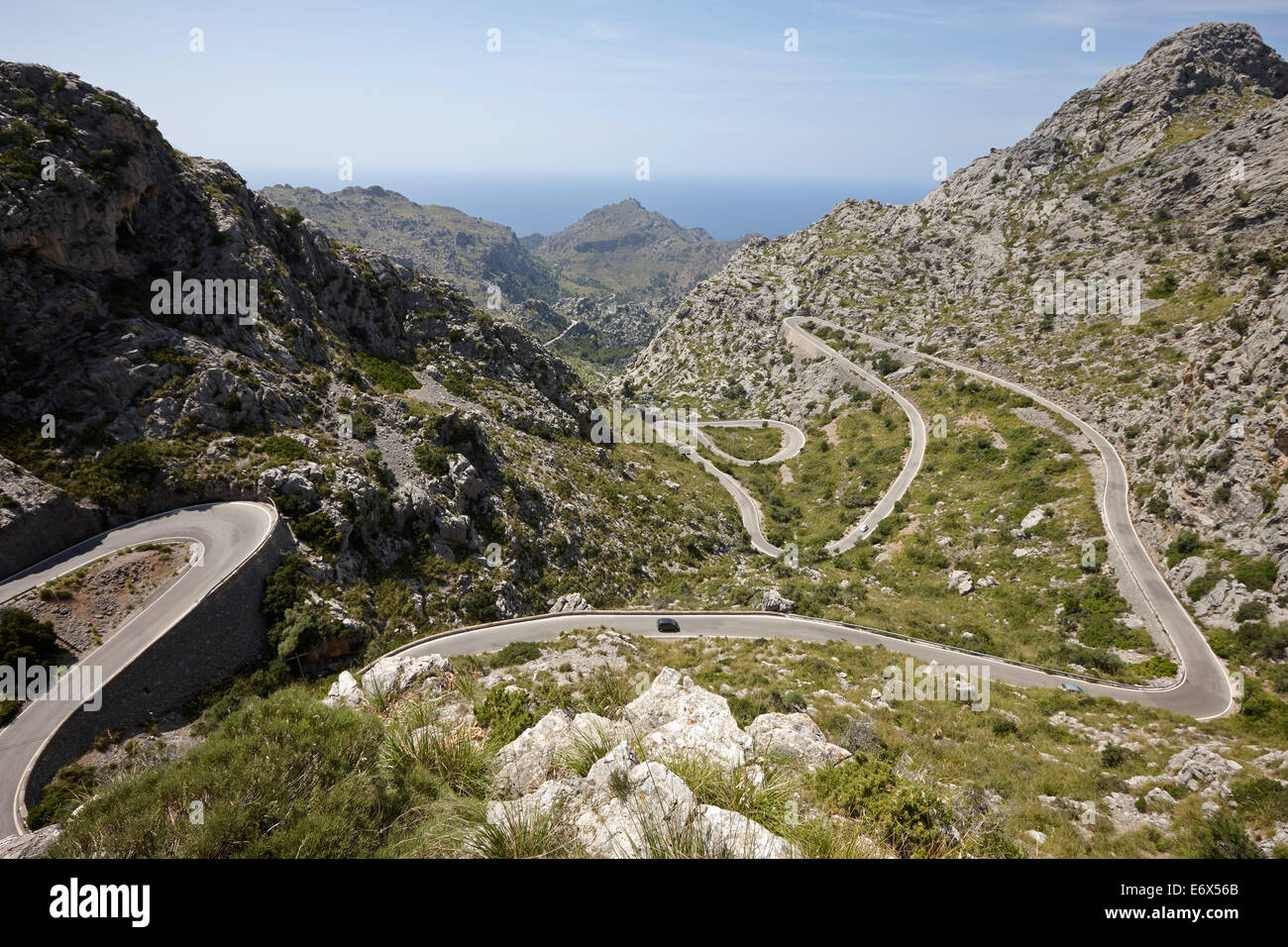 "Legendären Road ""The Snake"", Sa Calobra, MA-2141, Tramuntana Gebirge, Mallorca, Balearen, Spanien Stockbild"