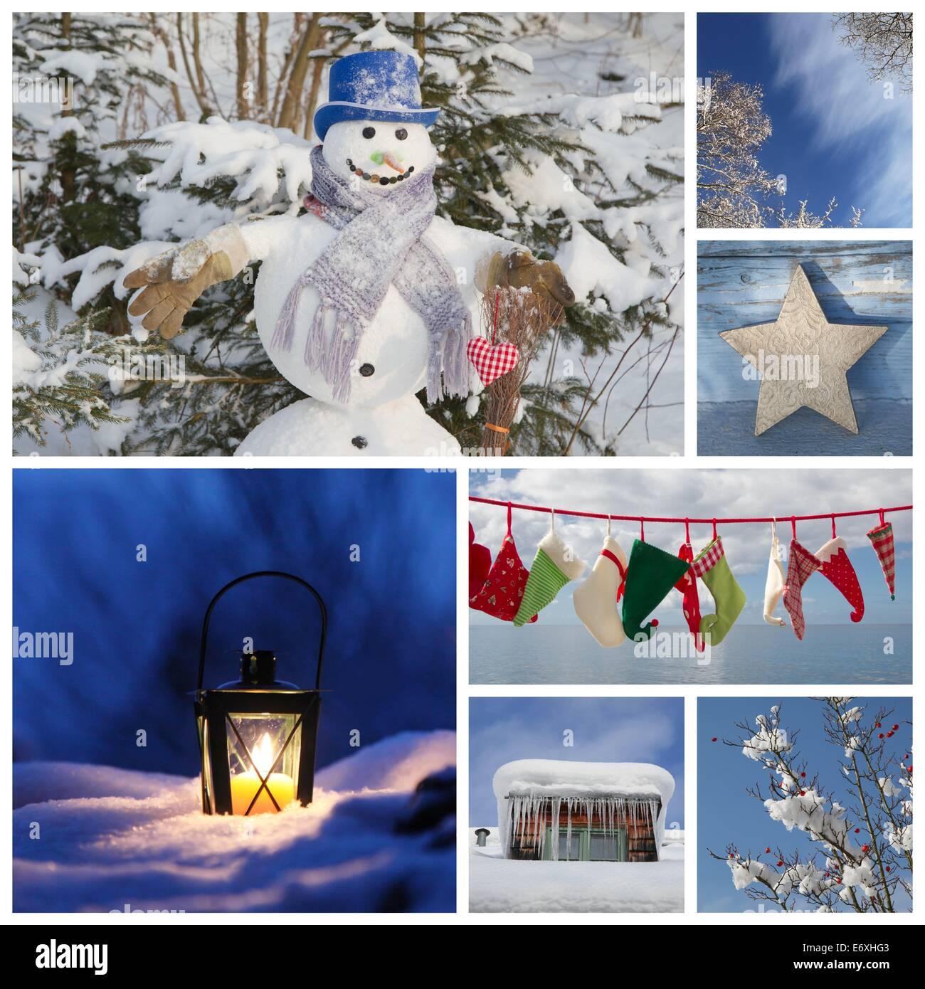Verführerisch Collage Ideen Ideen Von Weihnachten-collage In Blau - Für Die Dekoration