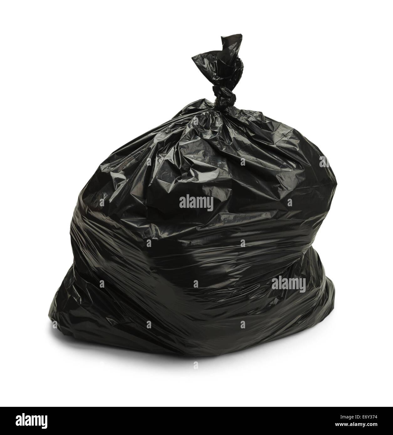 Volle schwarze Tasche von Müll, Isolated on White Background. Stockbild