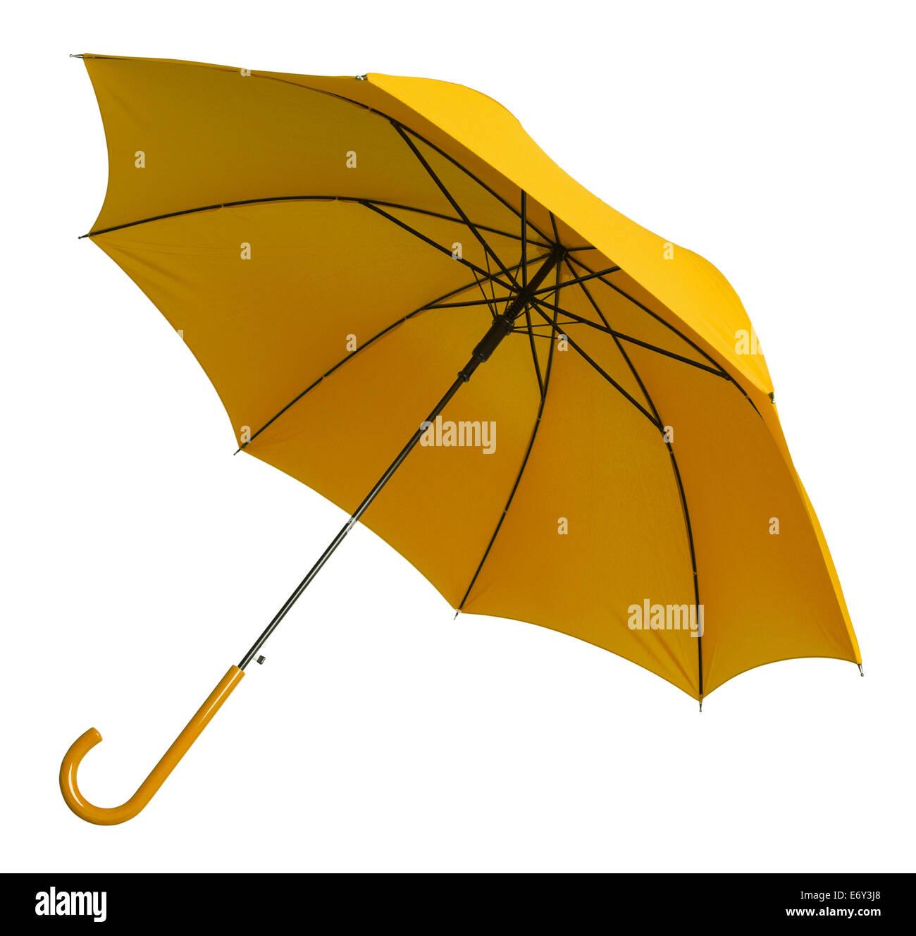 Leuchtend gelben Regenschirm gekippt isolierten auf weißen Hintergrund. Stockbild